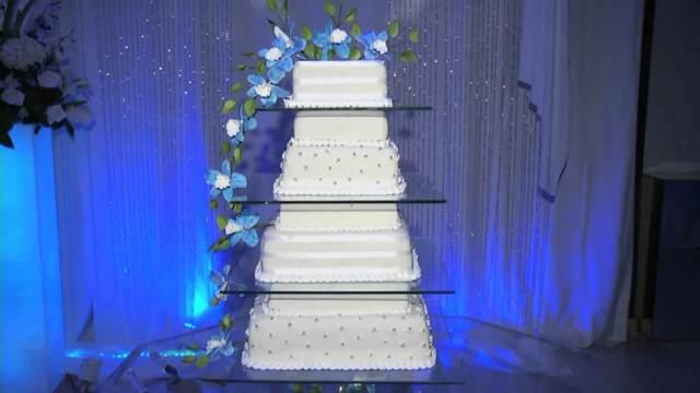 decoración azul ideas modernas boda pastel
