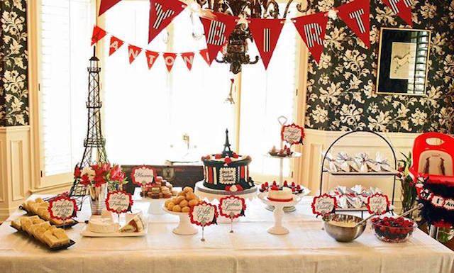 decoración de cumpleaños temática colores rojo blanco negro