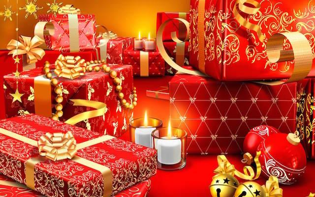 decoración de Navidad color rojo dorado regalos