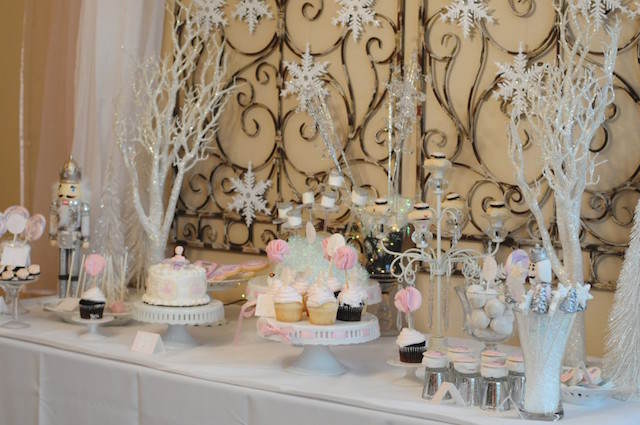 decoración tema invierno mesa dulces