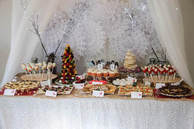 decoración temática catering tema bosque invierno