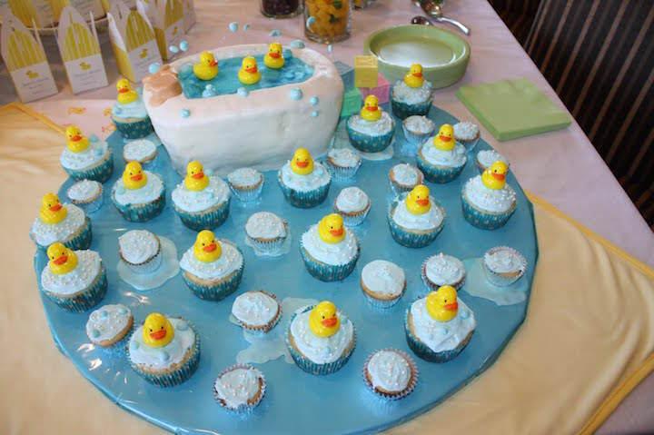 decoración temática bautizo niño patitos agua
