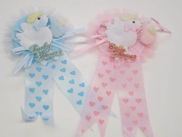 distintivos para baby shower variedades color azul rosa