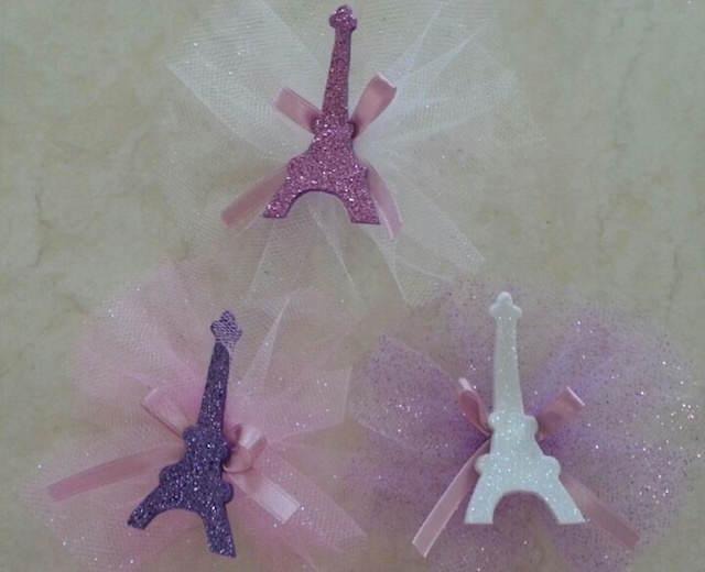 distintivos para bautizo tema Paris color rosa