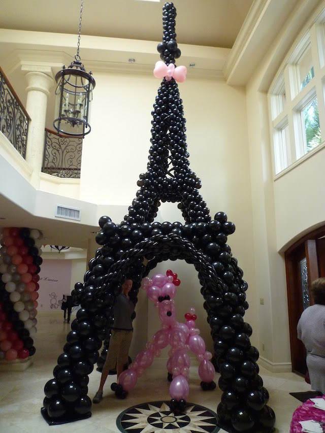 figuras globos decoración de cumpleaños París torre