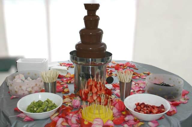idea fantástica postre fuente chocolate frutas