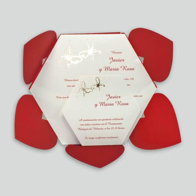 invitaciones boda color rojo decoración temática corazones