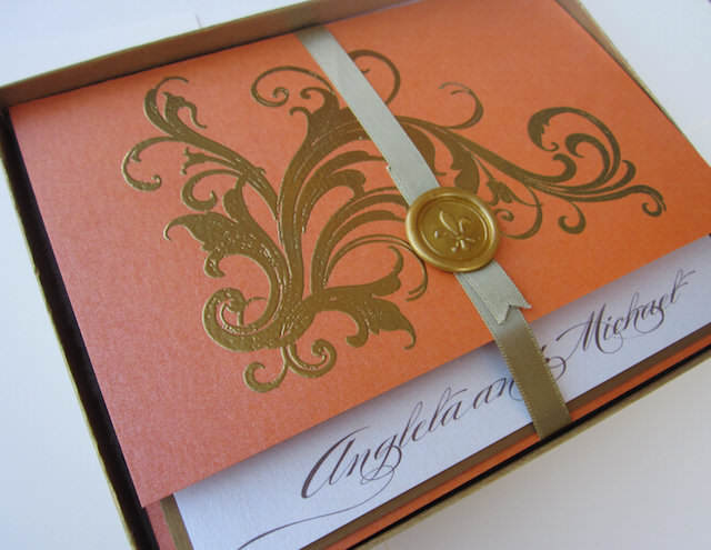 invitaciones para boda color alegre mandarina 2015