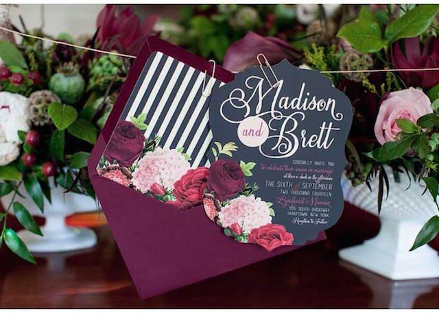 invitaciones para boda color marsala año 2015
