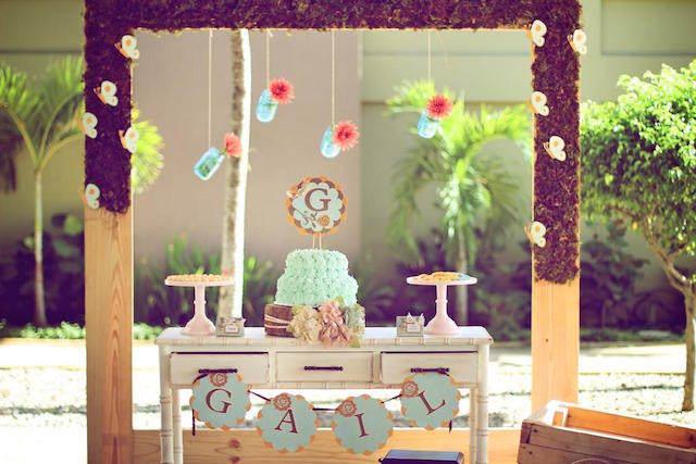 magnífica decoración de baby shower niño vintage