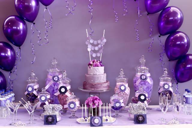 magnífica decoración fiesta entera color lila