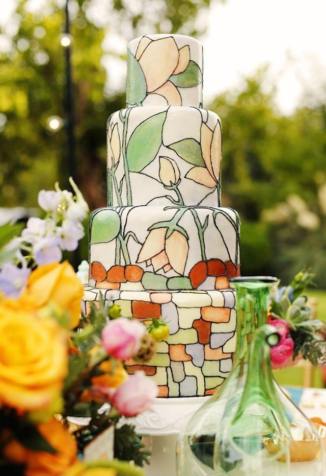 pastel de boda pintado elegante innovador