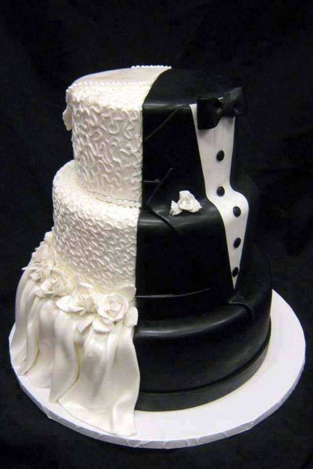 pastel de boda novia y novio diseño mitad
