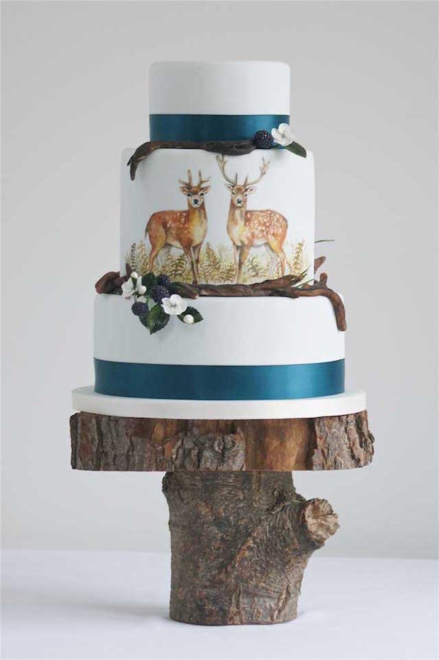 pastel de boda temático bosque ciervos