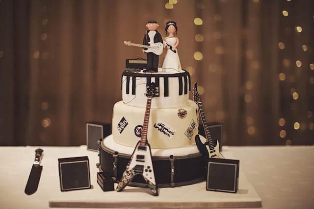 pastel para boda temático música decoración