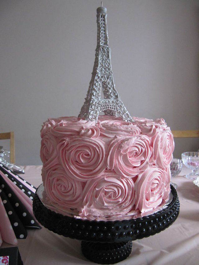 pastel precioso decorado tematico Paris rosas