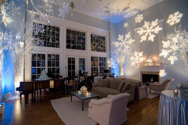 preciosa decoración tema invierno iluminación fiesta
