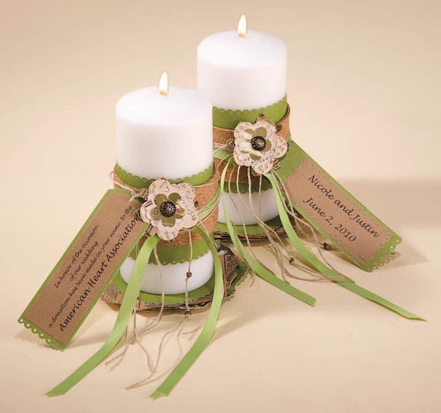 recuerdos para boda velas decoración verde