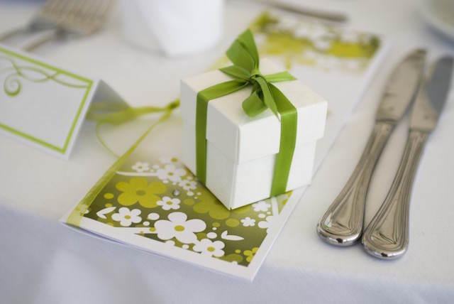 regalo pequeño boda decoración color verde