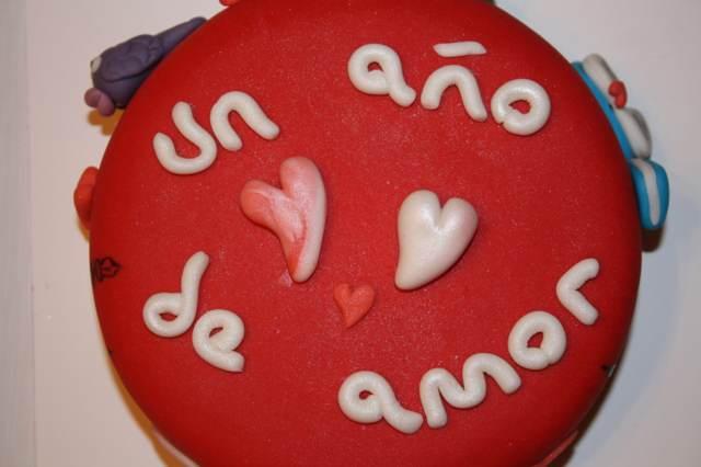 pastel original aniversario color rojo