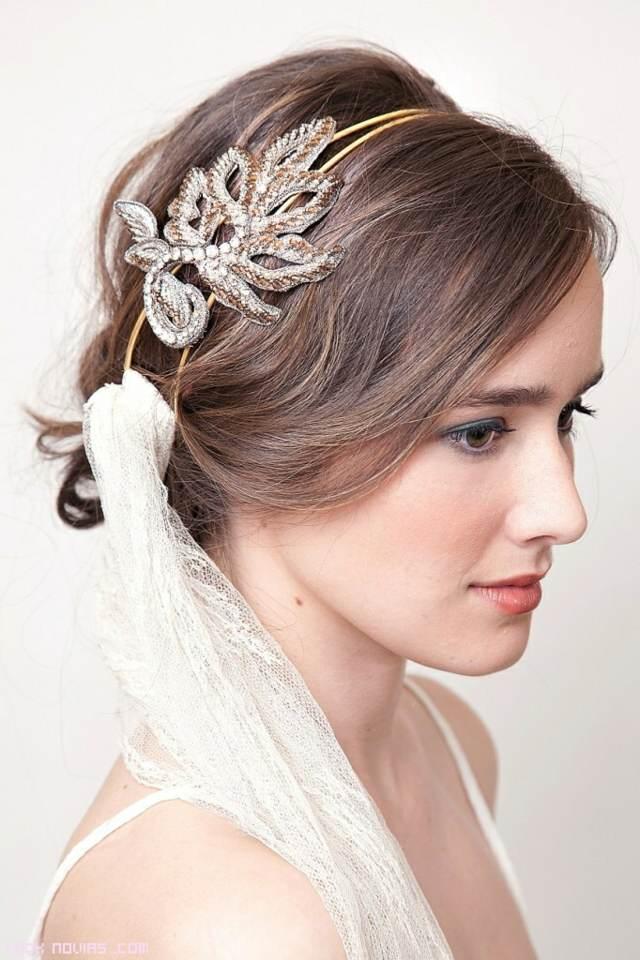 tocados novia forma hoja idea magnífica