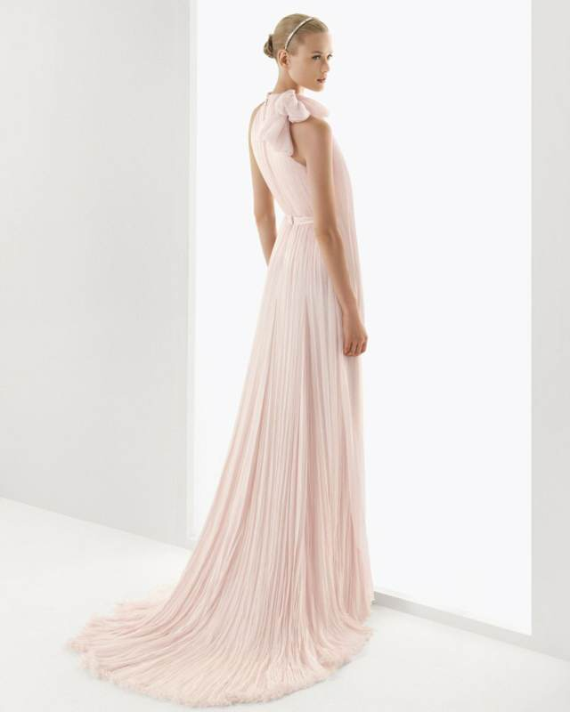 vestido novia color rosa colores modelos modernos 2015