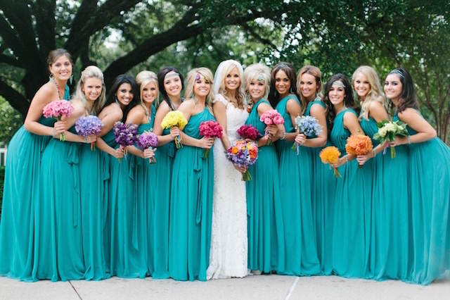 vestidos turquesa damas de honor boda