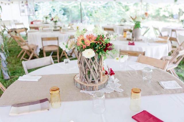 boda estilo rústico mezcla bohemio centros de mesa