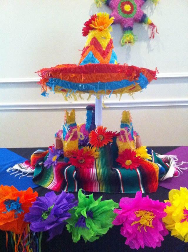 centro de mesa temático México sombrero
