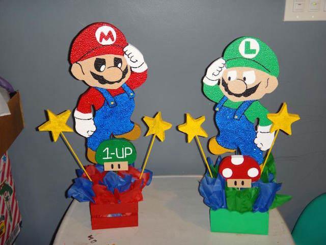 centros de mesa muchacho super Mario Luigi