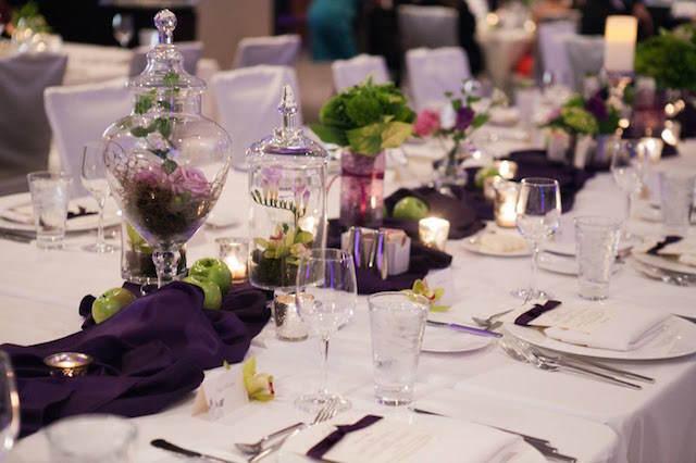 centros de mesa para boda color púrpura