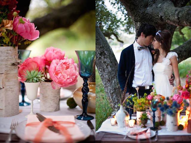 centros de mesa para boda romántica bohemia