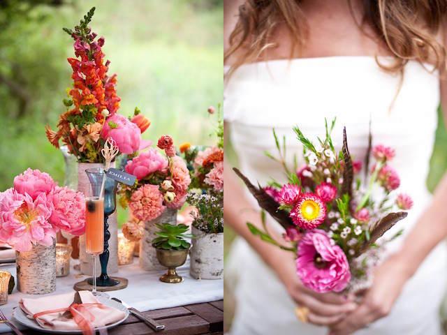 colores llamativos centros de mesa para boda