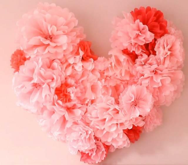 corazón rosa papel crepe idea original decoración
