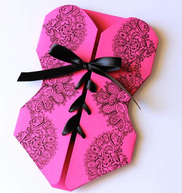 corset invitaciones para despedida de soltera clásicas