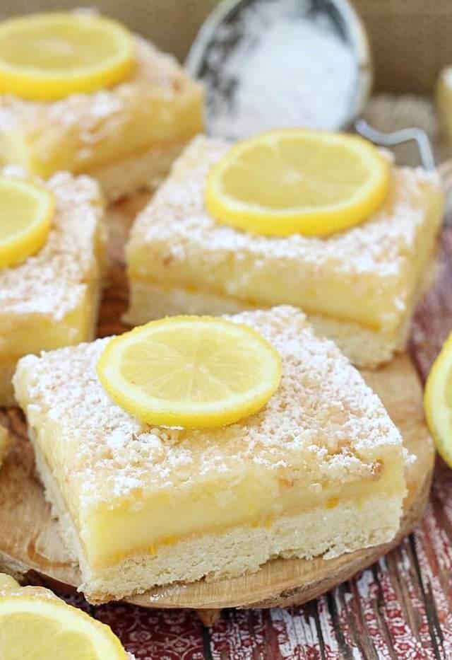 cuadrados limón postre delicioso ideas fiesta
