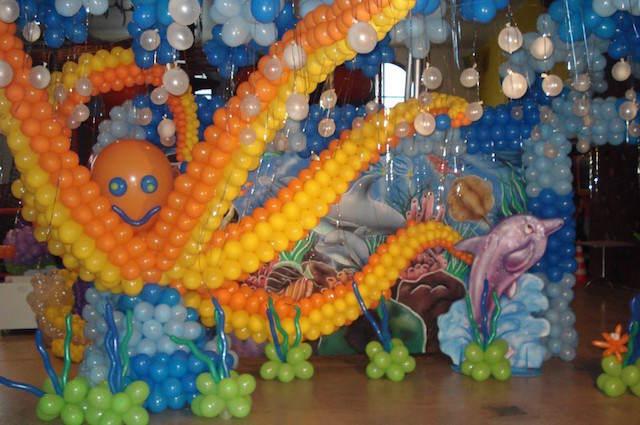 cumpleaños infantiles tema mar decoración globos