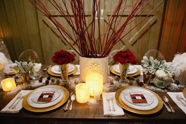 decoración boda estilo vintage durante invierno