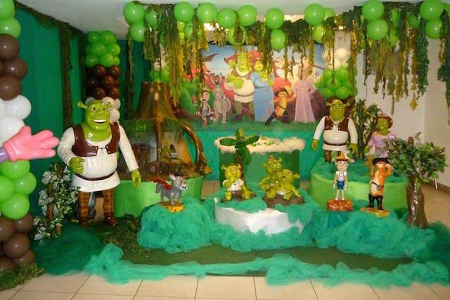 decoración fiesta temática Shrek