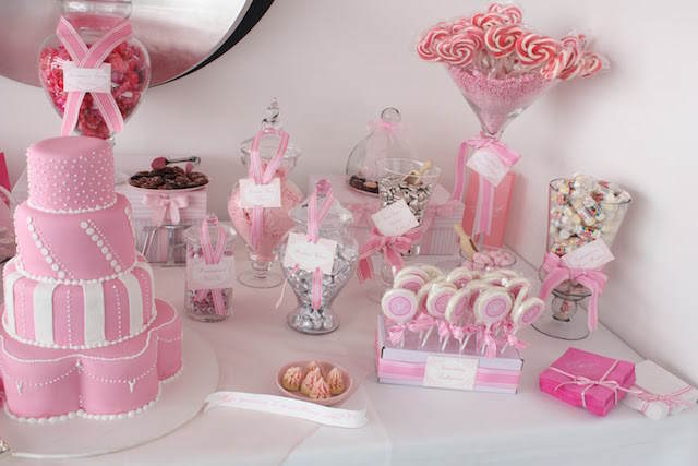 decoración mesa postres moda 2015 fresa hielo