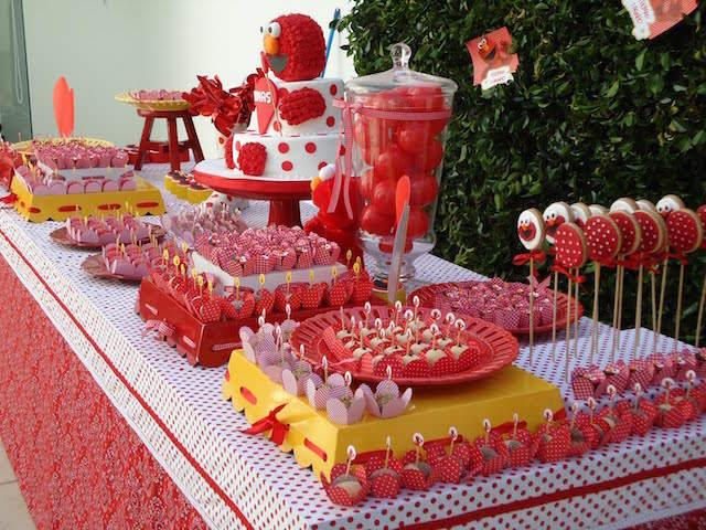 decoración temática cumpleaños infantiles color rojo blanco