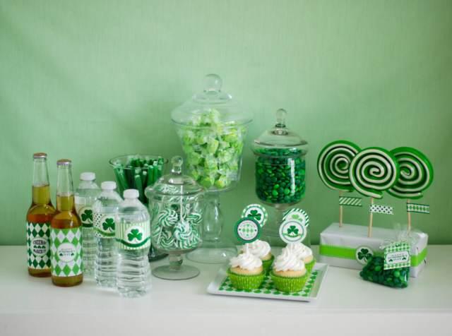 idea decoración temática dia San Patricio color verde