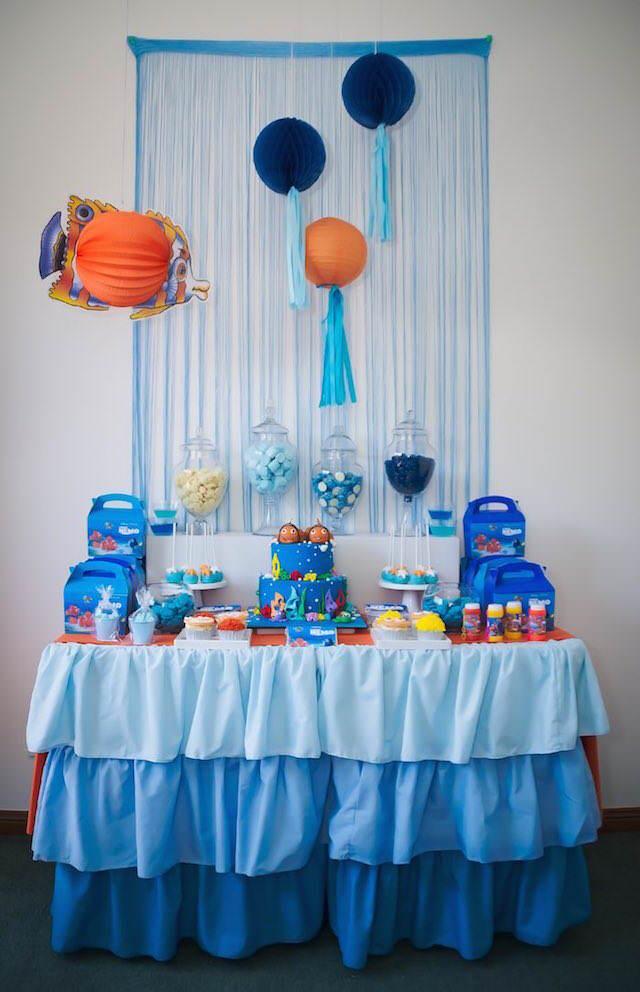 decoración temática fiesta infantil bajo el mar