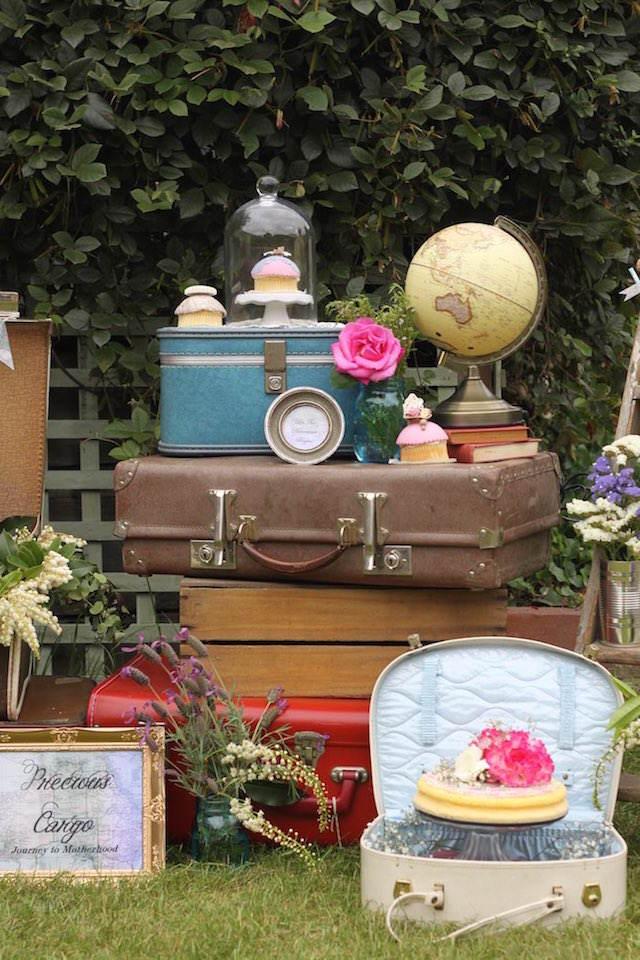 fantásticos recuerdos para bautizo tema viaje maletas