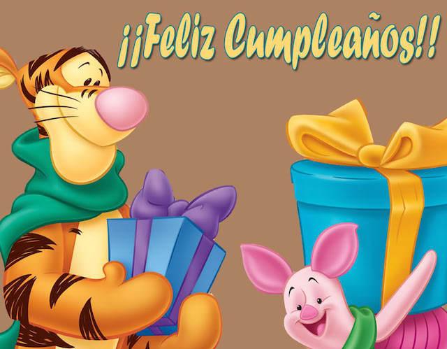 feliz cumpleaños piglet tigger muchos regalos