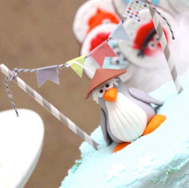 fiestas infantiles decoración pingüinos pastel