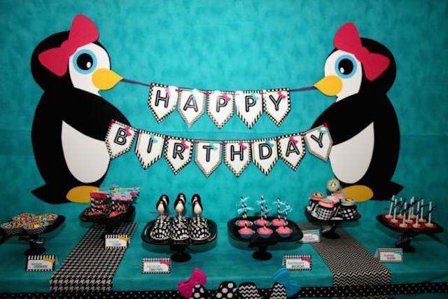 fiestas infantiles decoración tema pingüino