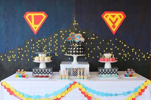 fiestas infantiles decoración linda superhéroes