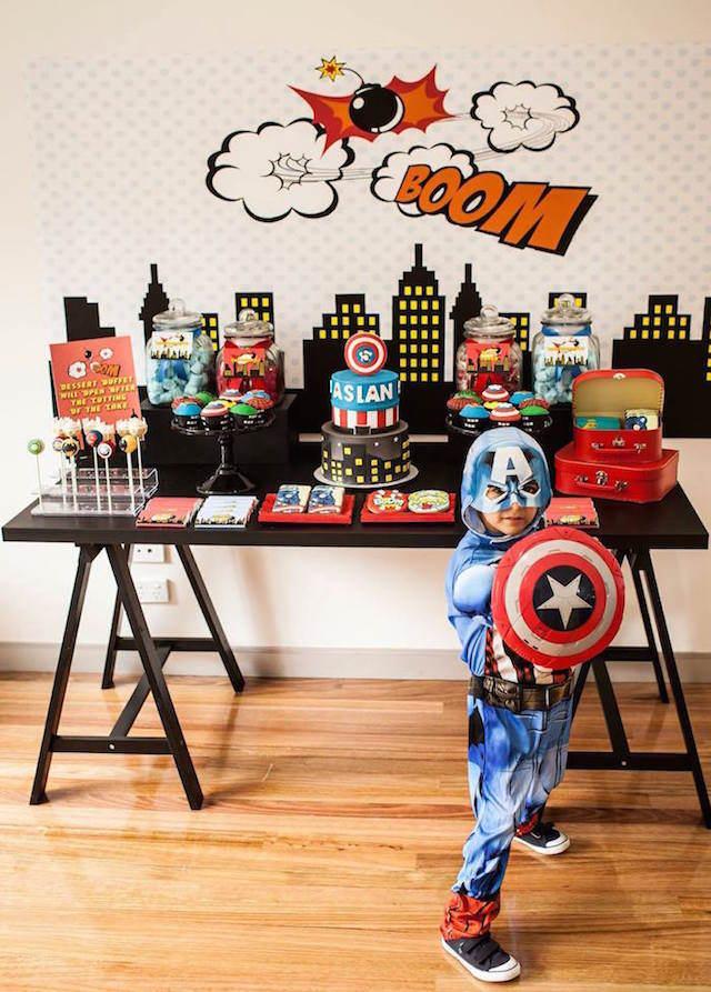 fiestas infantiles muchacho tema superhéroes