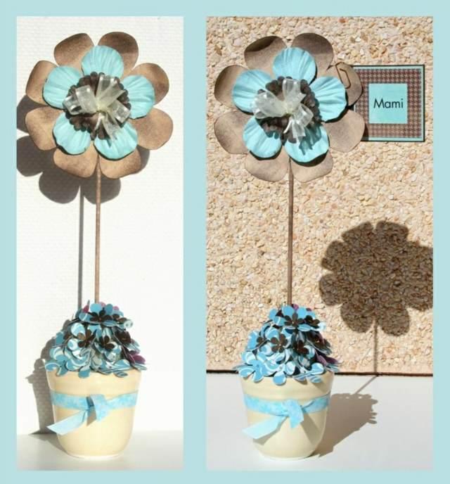 flores de papel crepe ideas originales decoración color azul